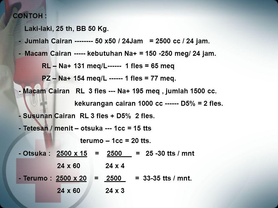 CONTOH : Laki-laki, 25 th, BB 50 Kg. - Jumlah Cairan -------- 50 x50 / 24Jam = 2500 cc / 24 jam.