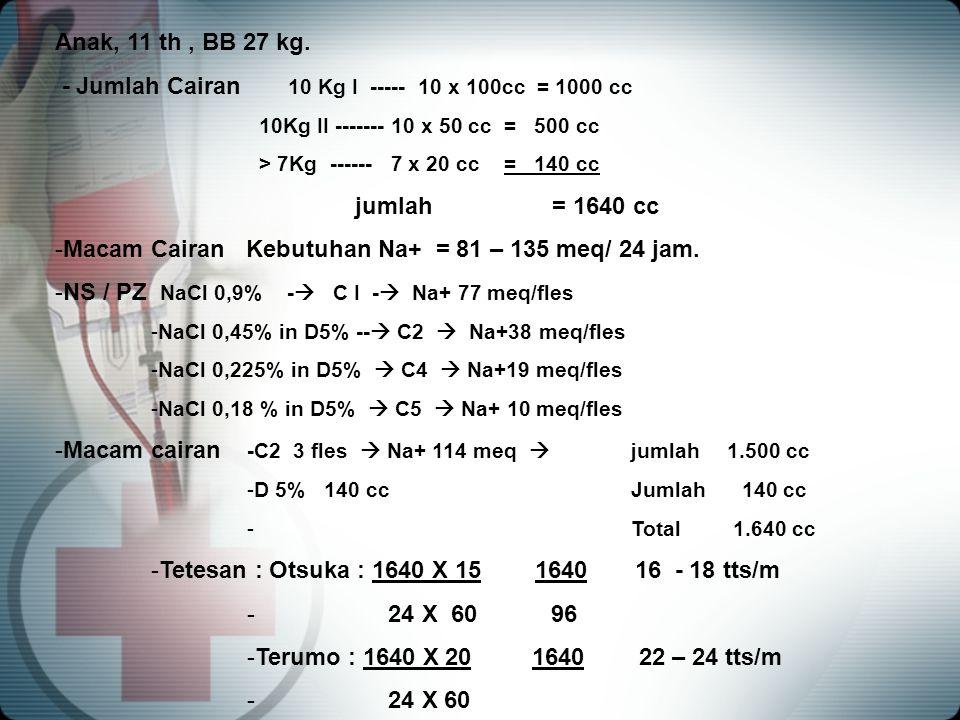 - Jumlah Cairan 10 Kg I ----- 10 x 100cc = 1000 cc