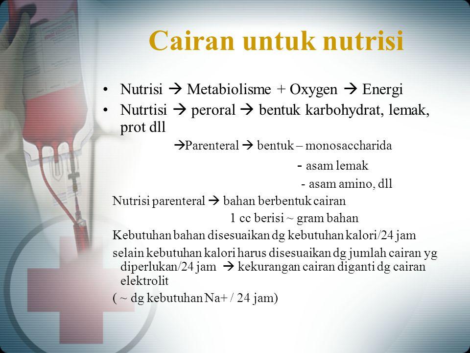 Cairan untuk nutrisi Nutrisi  Metabiolisme + Oxygen  Energi