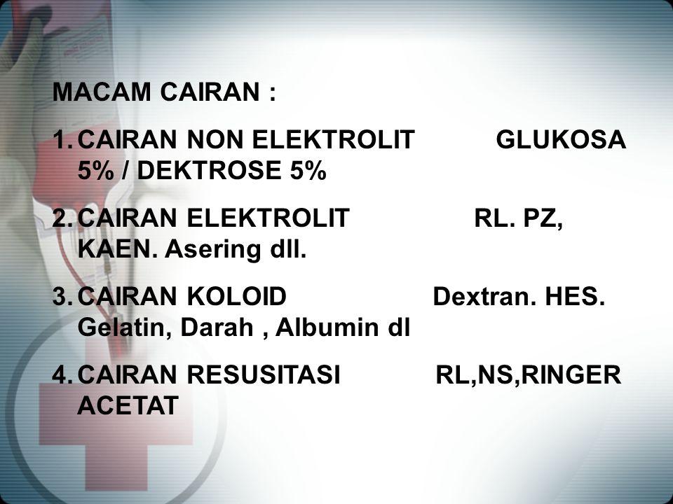 MACAM CAIRAN : CAIRAN NON ELEKTROLIT GLUKOSA 5% / DEKTROSE 5% CAIRAN ELEKTROLIT RL. PZ, KAEN. Asering dll.