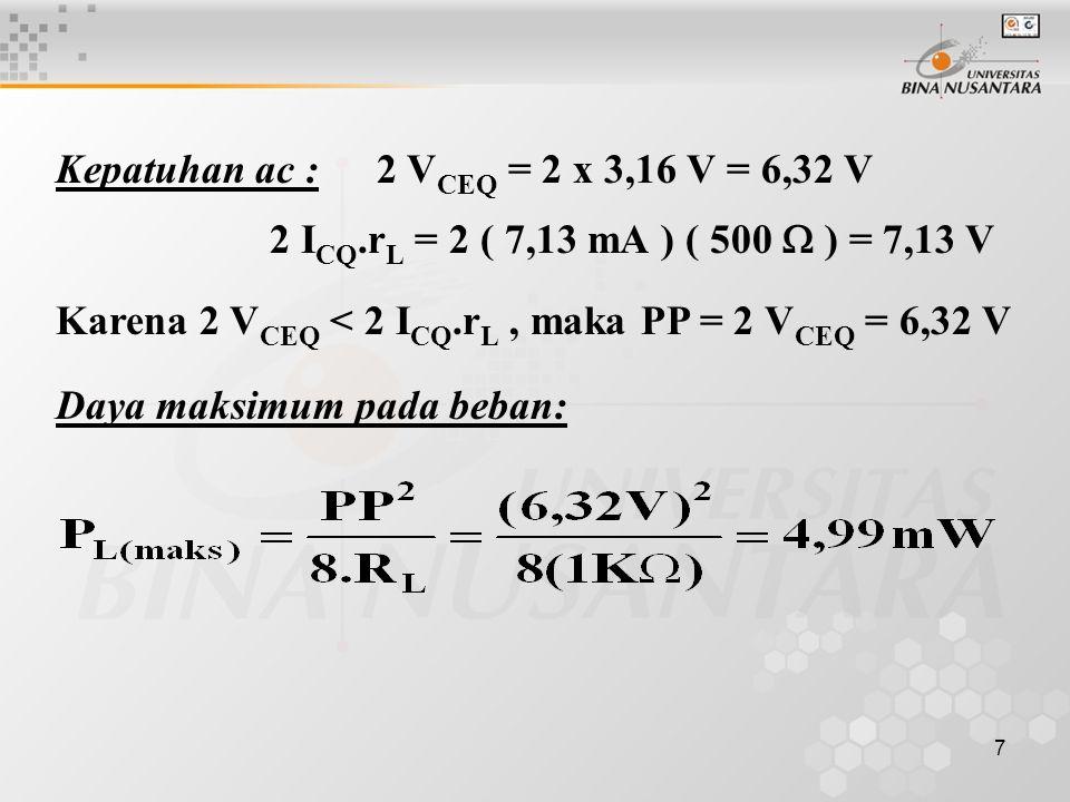 Kepatuhan ac : 2 VCEQ = 2 x 3,16 V = 6,32 V