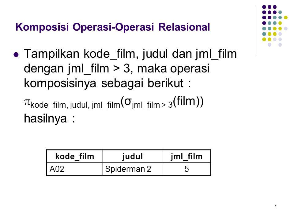 Komposisi Operasi-Operasi Relasional