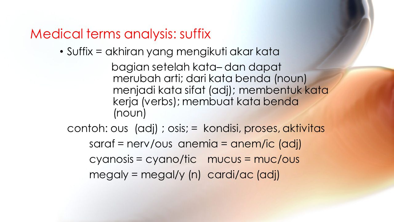 Medical terms analysis: suffix