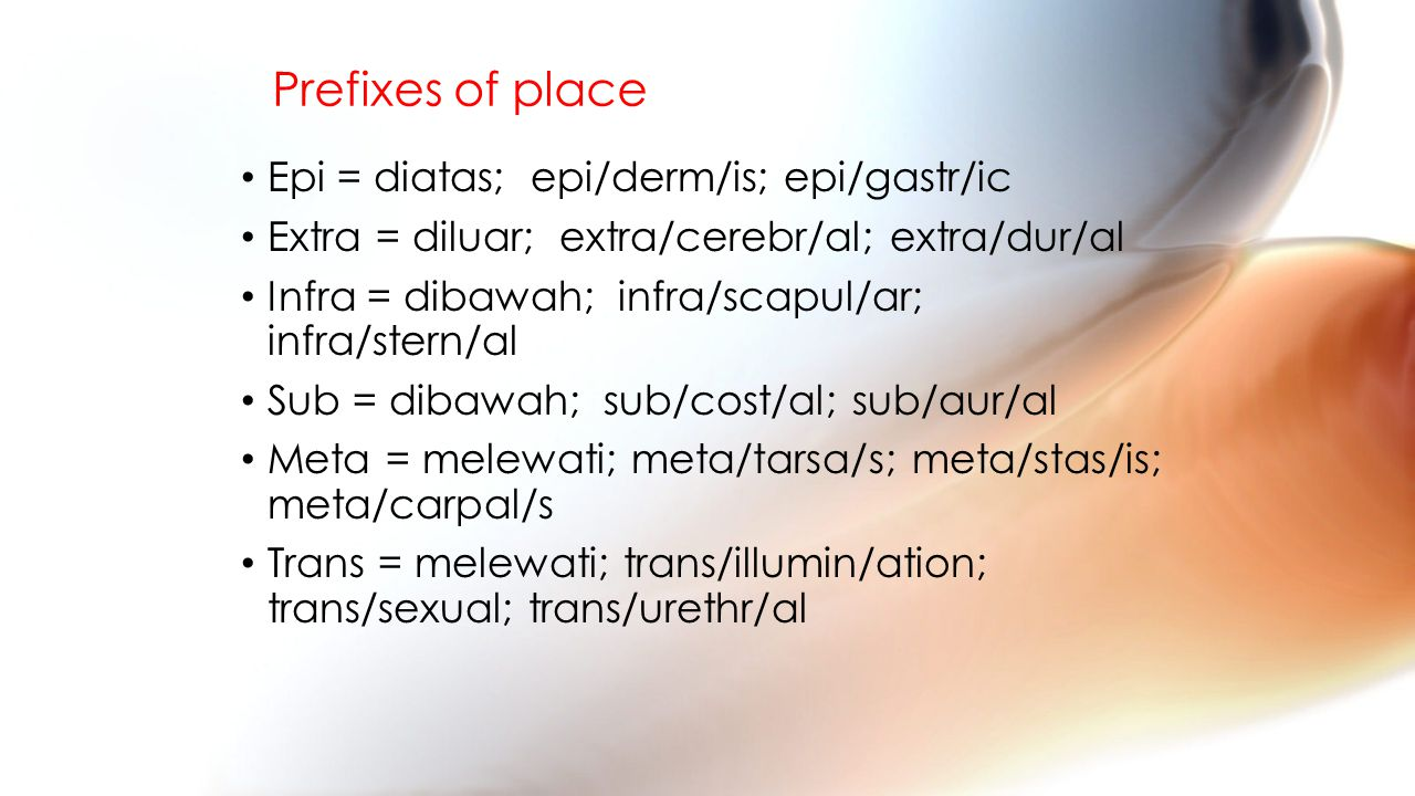 Prefixes of place Epi = diatas; epi/derm/is; epi/gastr/ic