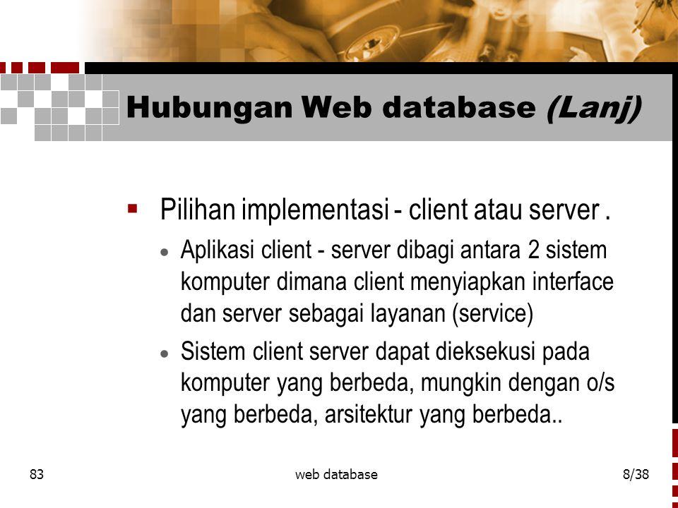 Hubungan Web database (Lanj)
