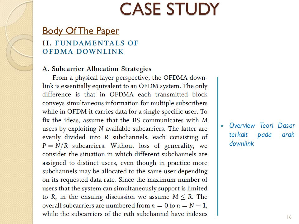 CASE STUDY Body Of The Paper
