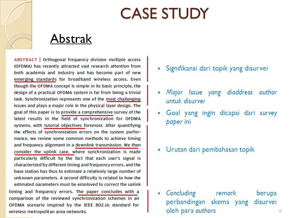 CASE STUDY Abstrak Signifikansi dari topik yang disurvei