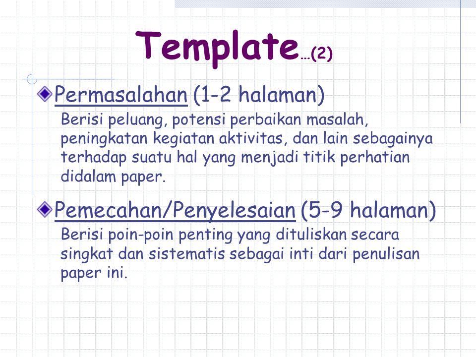 Template…(2) Permasalahan (1-2 halaman)