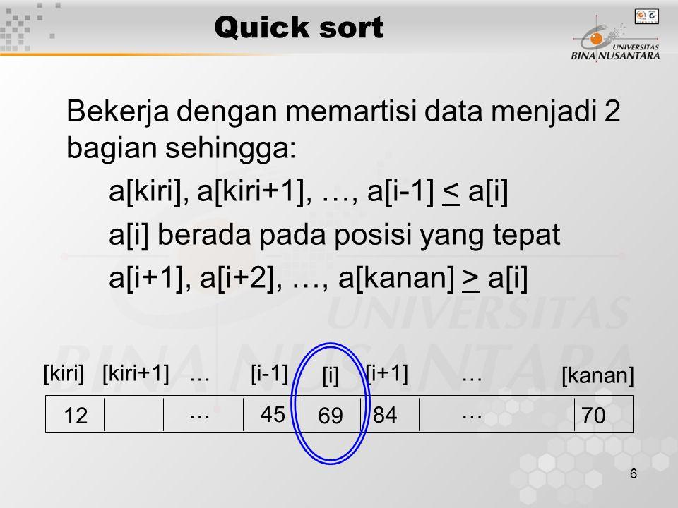Bekerja dengan memartisi data menjadi 2 bagian sehingga:
