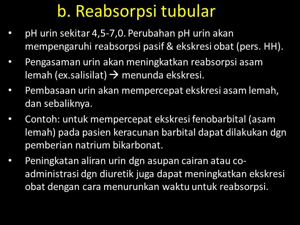 b. Reabsorpsi tubular pH urin sekitar 4,5-7,0. Perubahan pH urin akan mempengaruhi reabsorpsi pasif & ekskresi obat (pers. HH).