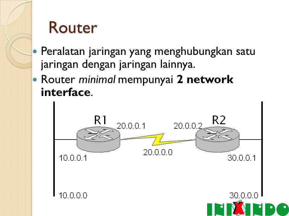 Router Peralatan jaringan yang menghubungkan satu jaringan dengan jaringan lainnya.