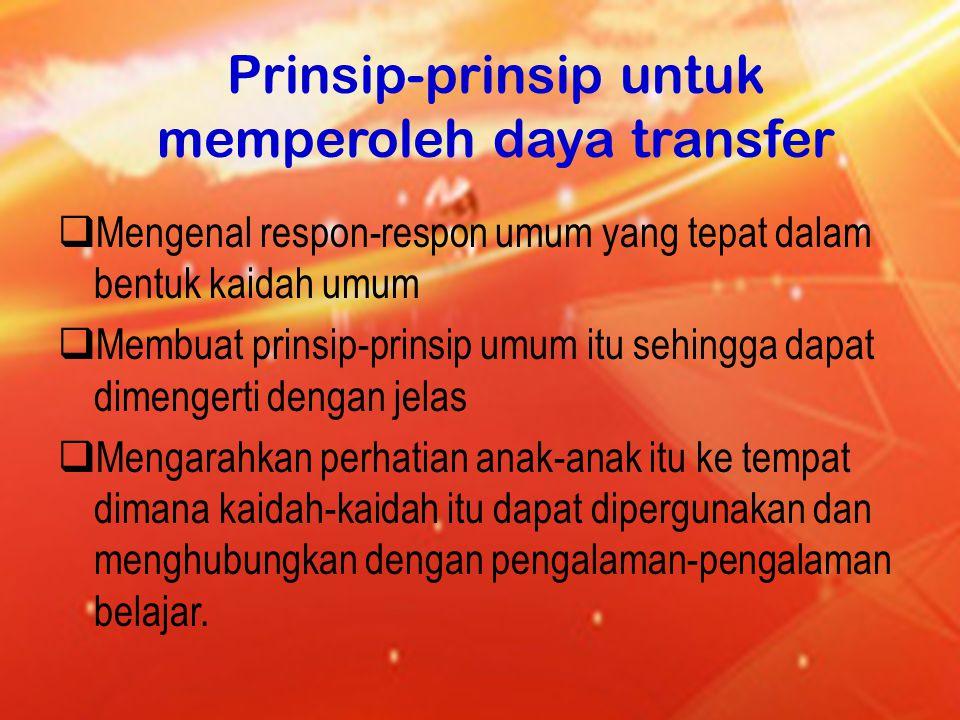 Prinsip-prinsip untuk memperoleh daya transfer
