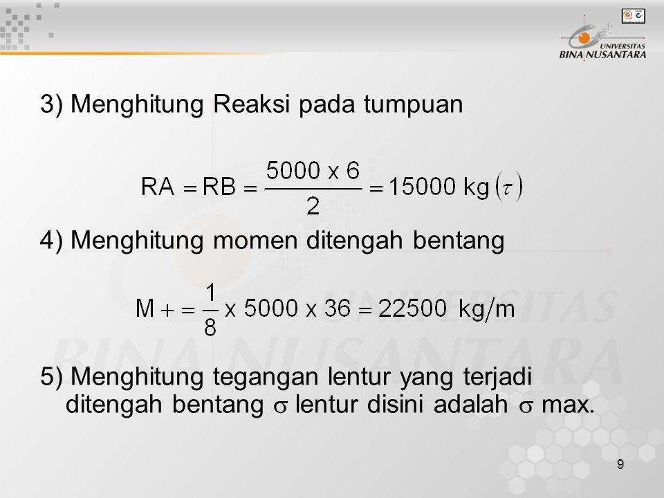 3) Menghitung Reaksi pada tumpuan