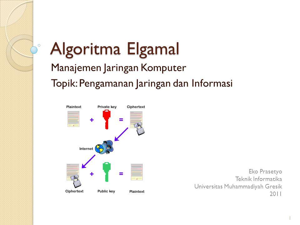 Manajemen Jaringan Komputer Topik: Pengamanan Jaringan dan Informasi