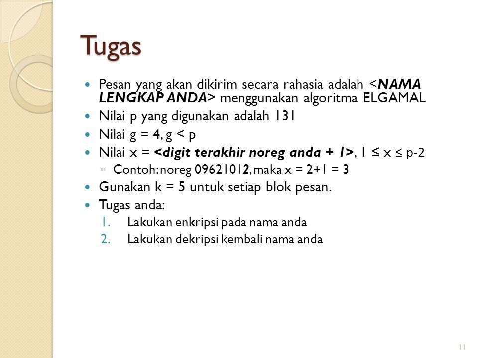 Tugas Pesan yang akan dikirim secara rahasia adalah <NAMA LENGKAP ANDA> menggunakan algoritma ELGAMAL.