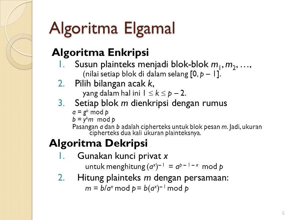 Algoritma Elgamal Algoritma Enkripsi Algoritma Dekripsi