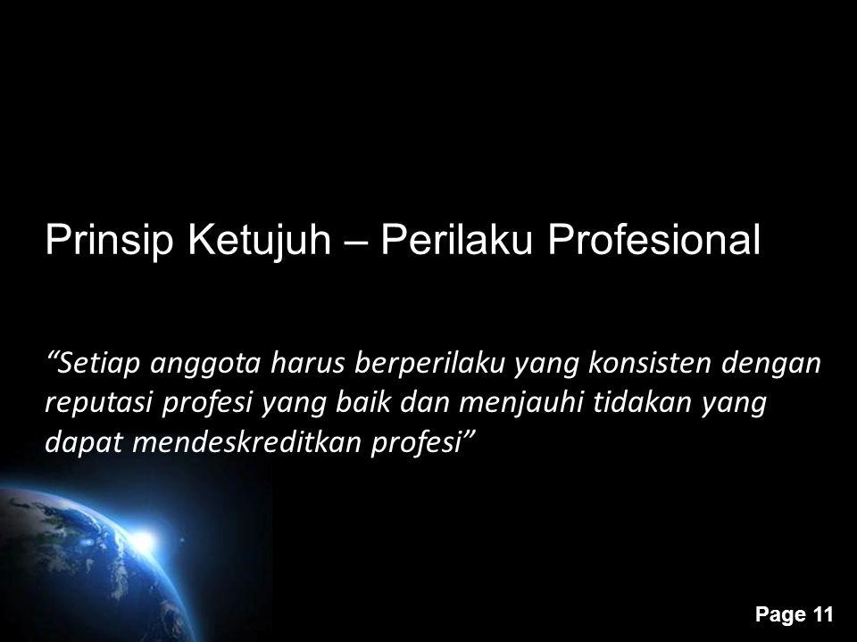 Prinsip Ketujuh – Perilaku Profesional