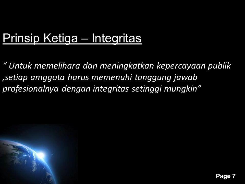Prinsip Ketiga – Integritas
