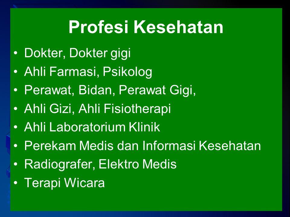 Profesi Kesehatan Dokter, Dokter gigi Ahli Farmasi, Psikolog