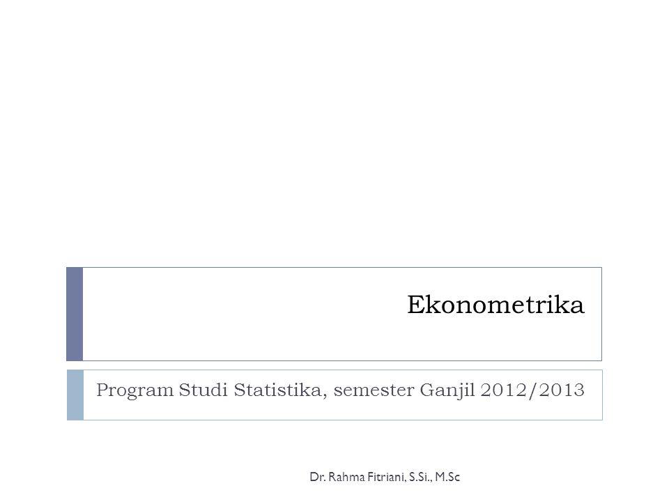 Program Studi Statistika, semester Ganjil 2012/2013