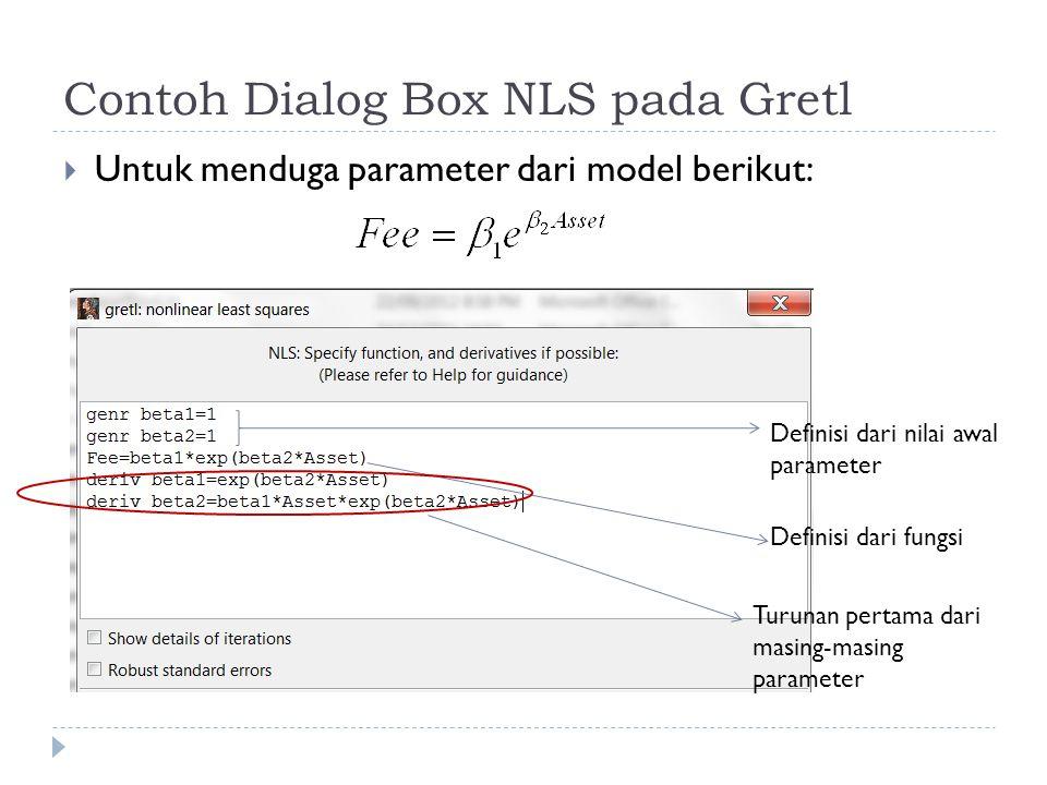 Contoh Dialog Box NLS pada Gretl