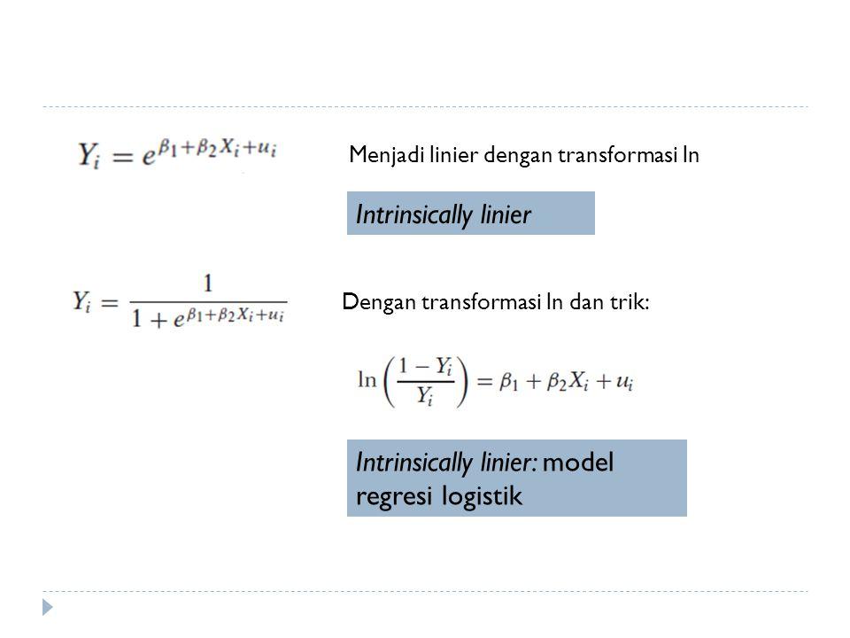 Intrinsically linier: model regresi logistik