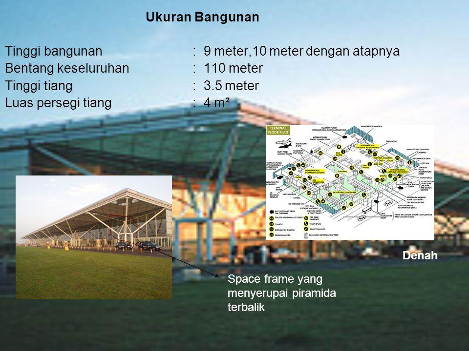 Tinggi bangunan : 9 meter,10 meter dengan atapnya
