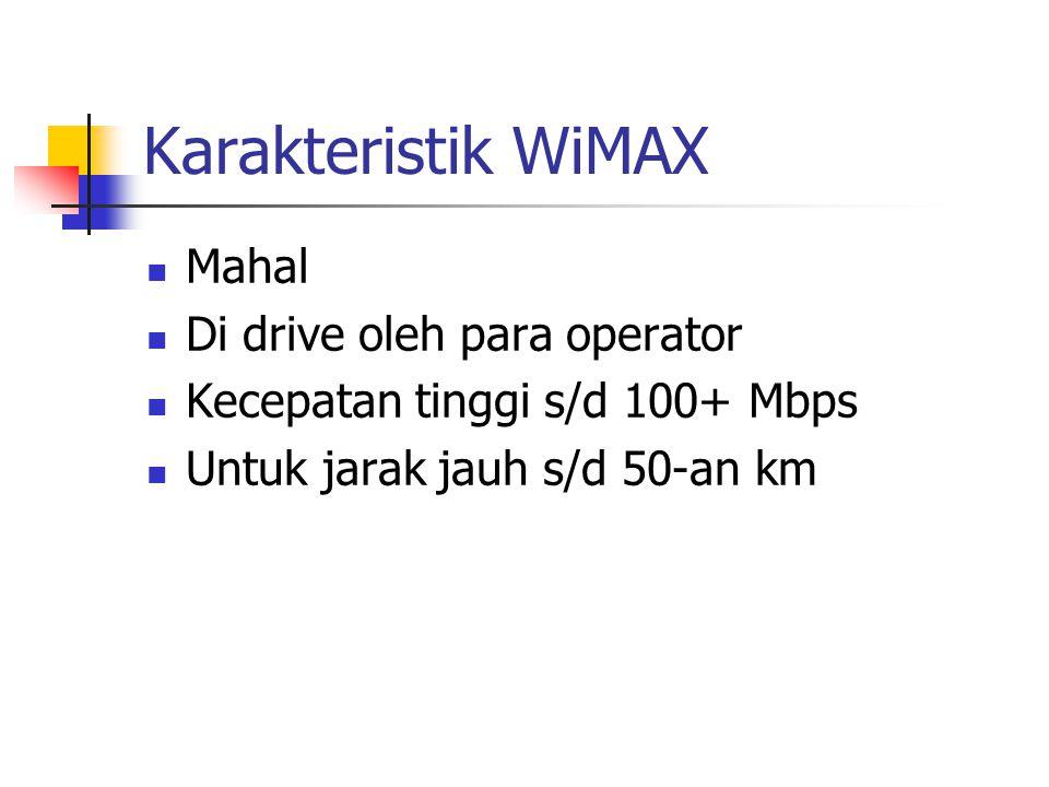 Karakteristik WiMAX Mahal Di drive oleh para operator