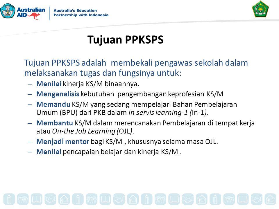 Tujuan PPKSPS Tujuan PPKSPS adalah membekali pengawas sekolah dalam melaksanakan tugas dan fungsinya untuk: