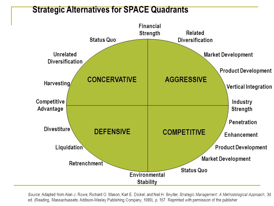 Strategic Alternatives for SPACE Quadrants
