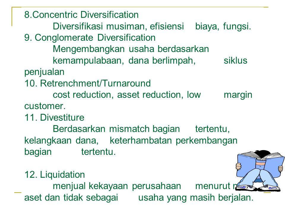 Concentric Diversification. Diversifikasi musiman, efisiensi