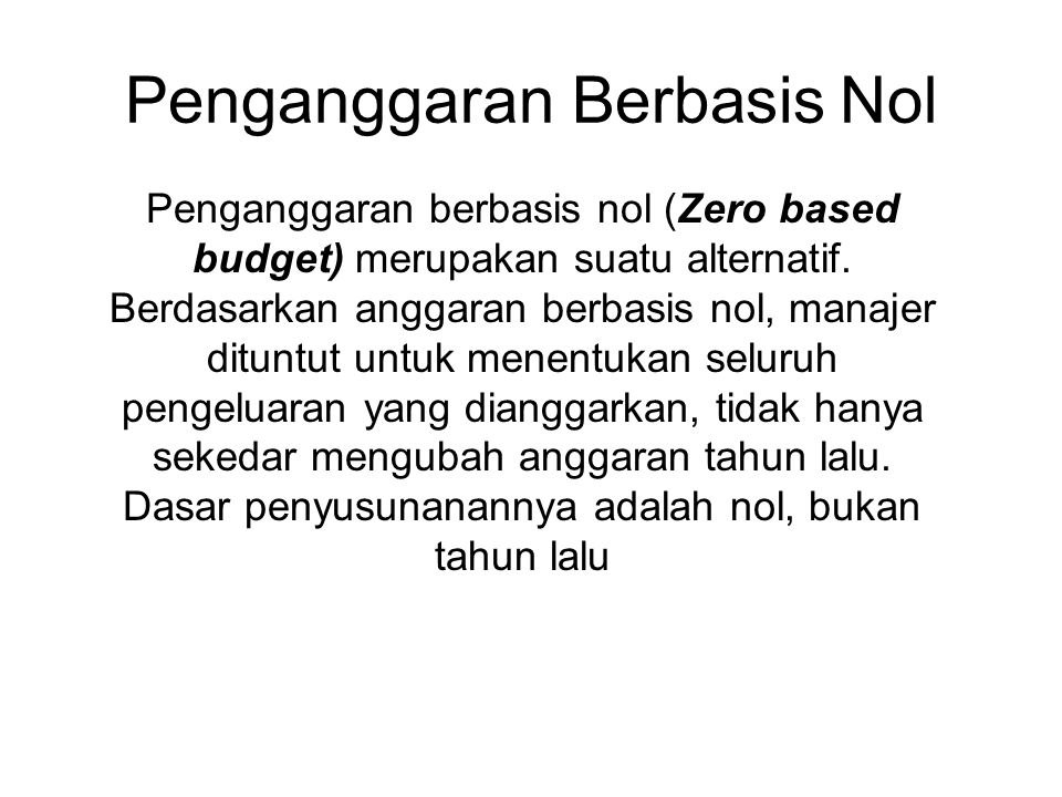 Penganggaran Berbasis Nol
