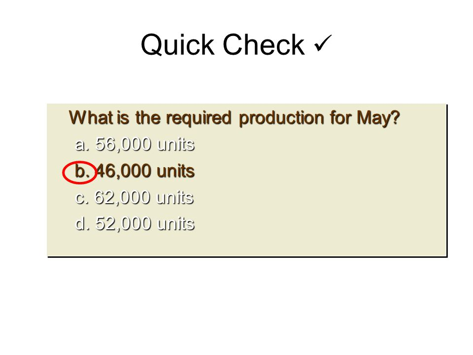 Quick Check  What is the required production for May a. 56,000 units