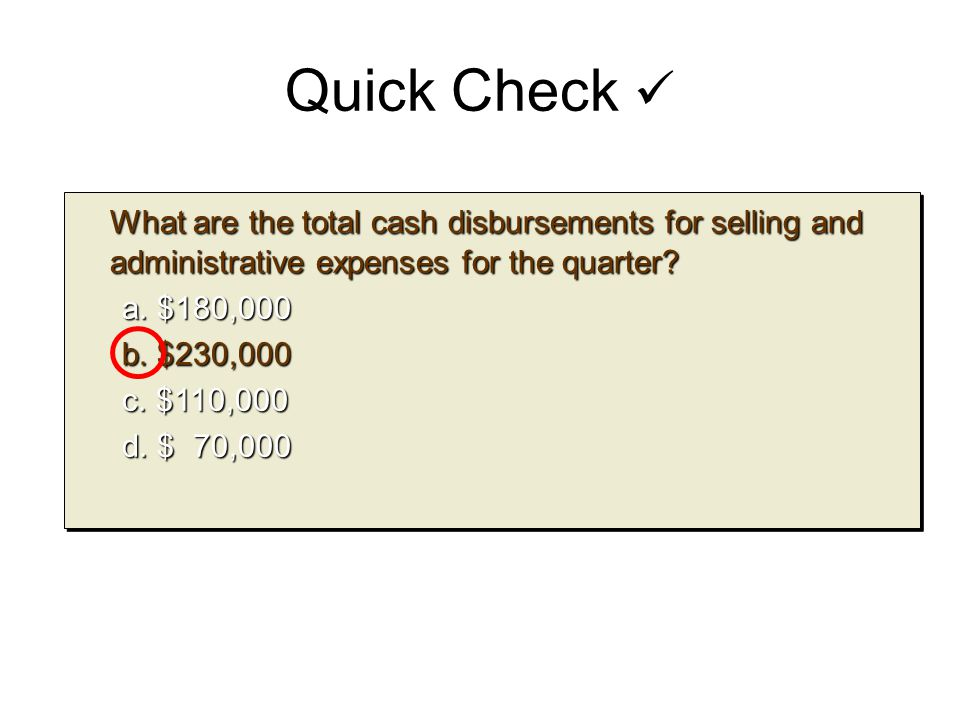 Quick Check  What are the total cash disbursements for selling and administrative expenses for the quarter