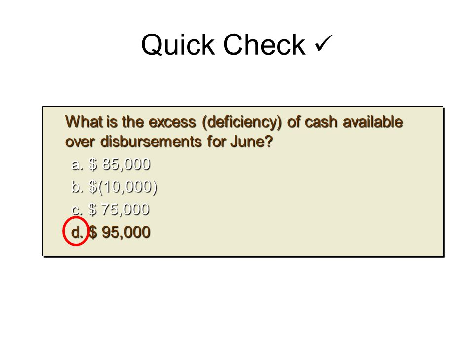 Quick Check  What is the excess (deficiency) of cash available over disbursements for June a. $ 85,000.