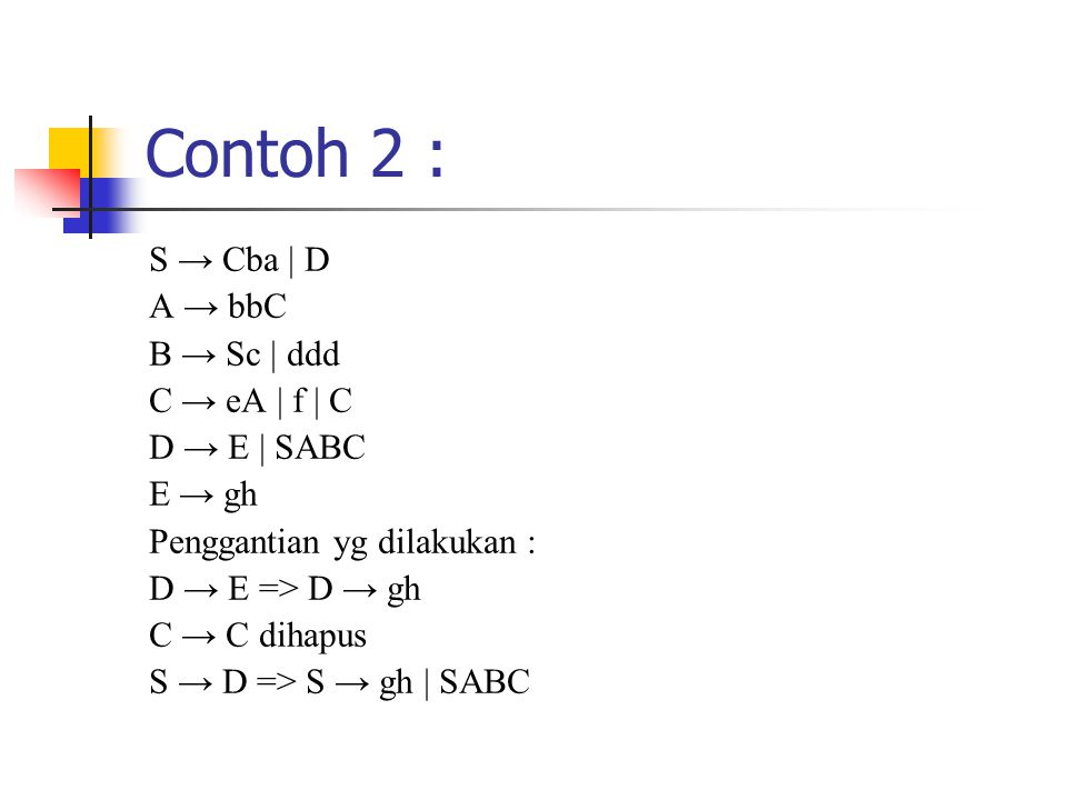Contoh 2 : S → Cba | D A → bbC B → Sc | ddd C → eA | f | C