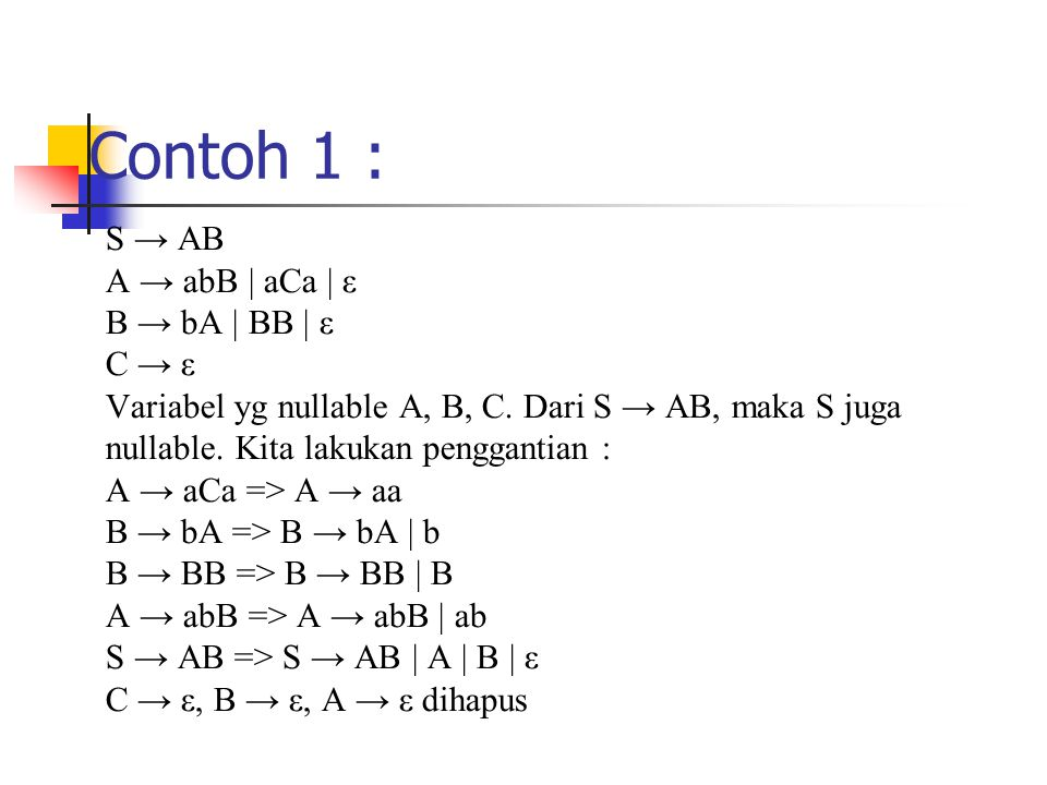 Contoh 1 : S → AB A → abB | aCa | ε B → bA | BB | ε C → ε
