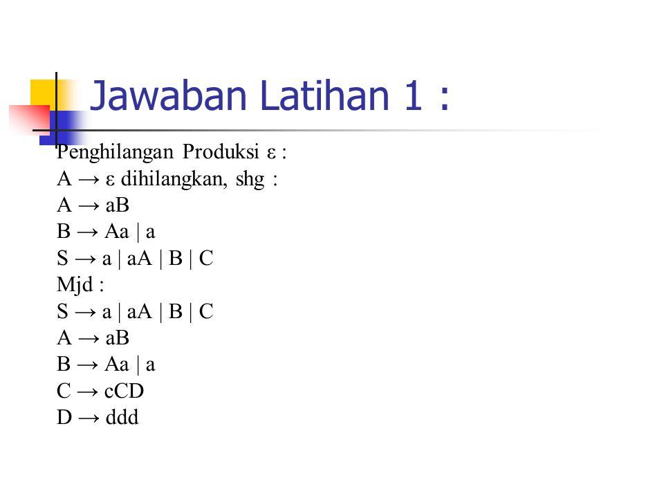 Jawaban Latihan 1 : Penghilangan Produksi ε : A → ε dihilangkan, shg :