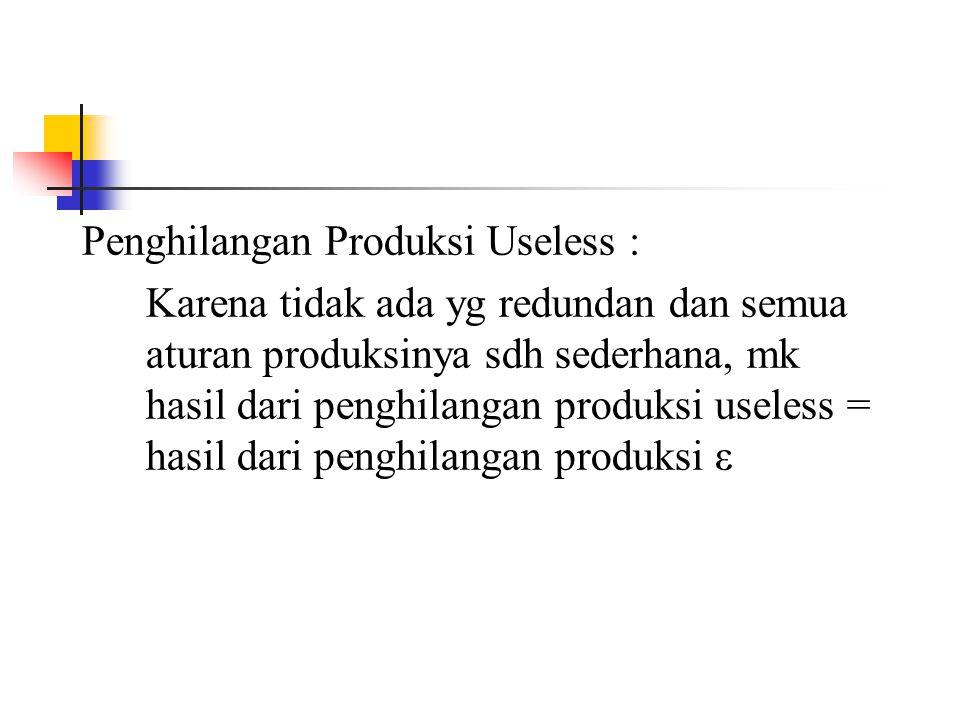 Penghilangan Produksi Useless :