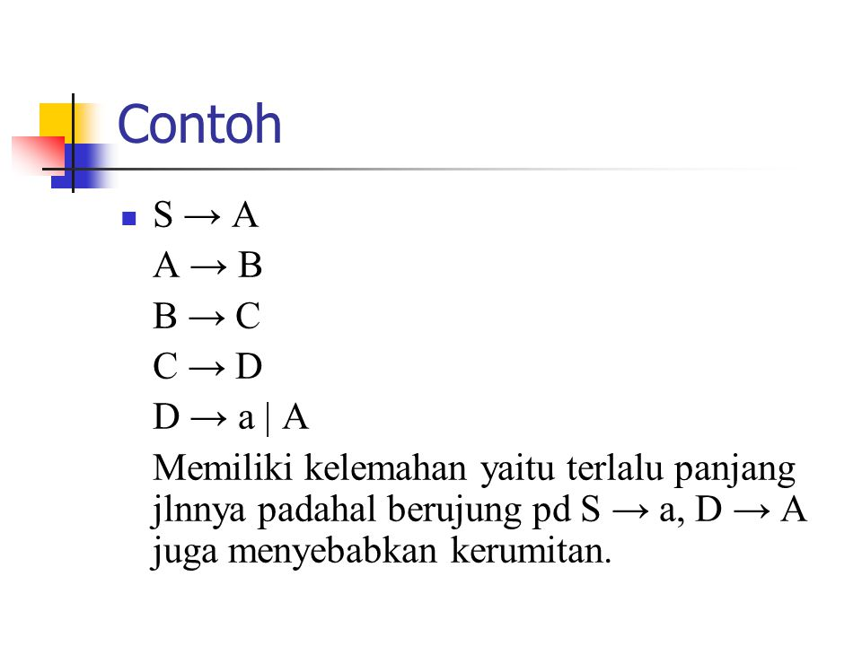 Contoh S → A A → B B → C C → D D → a | A