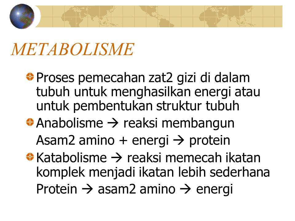 METABOLISME Proses pemecahan zat2 gizi di dalam tubuh untuk menghasilkan energi atau untuk pembentukan struktur tubuh.