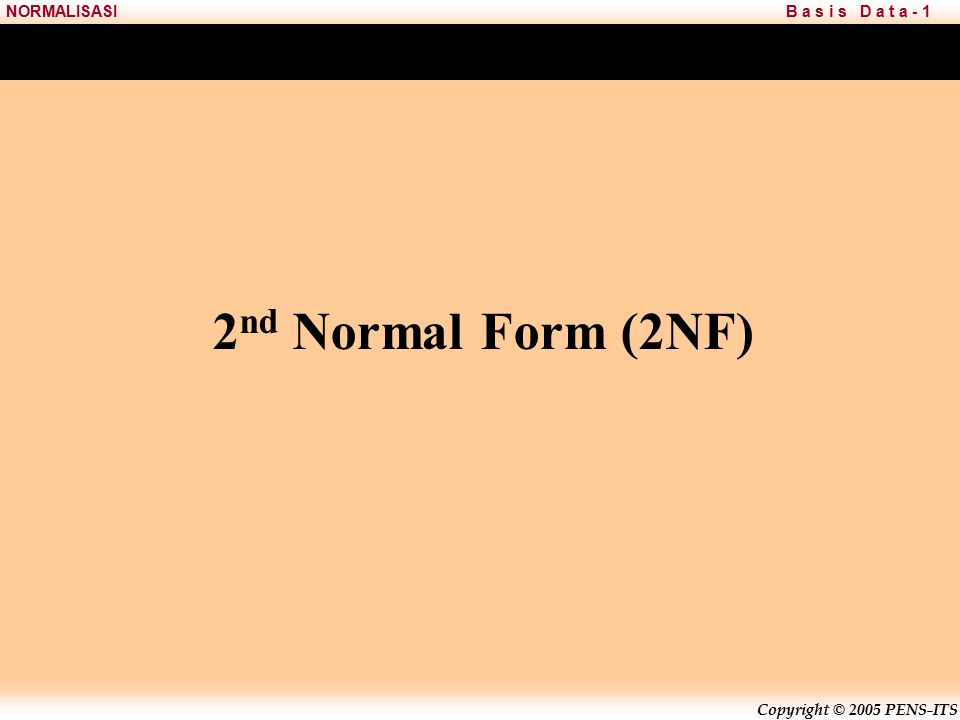 2nd Normal Form (2NF)