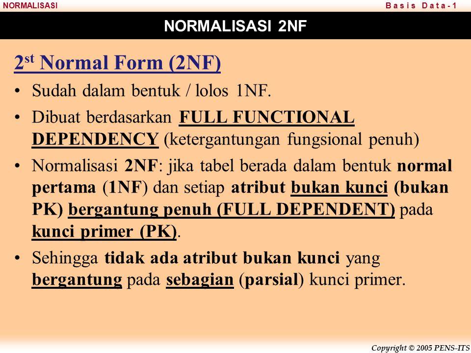 2st Normal Form (2NF) Sudah dalam bentuk / lolos 1NF.