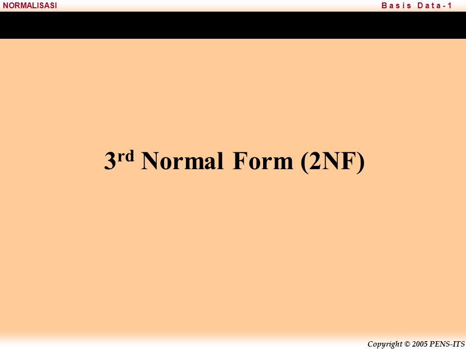 3rd Normal Form (2NF)