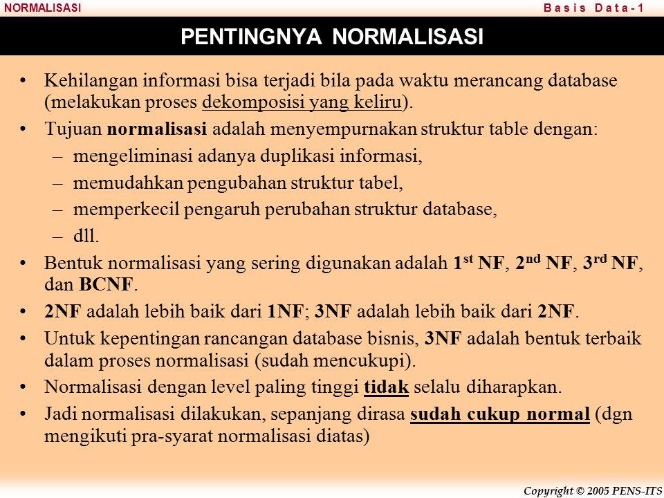 PENTINGNYA NORMALISASI