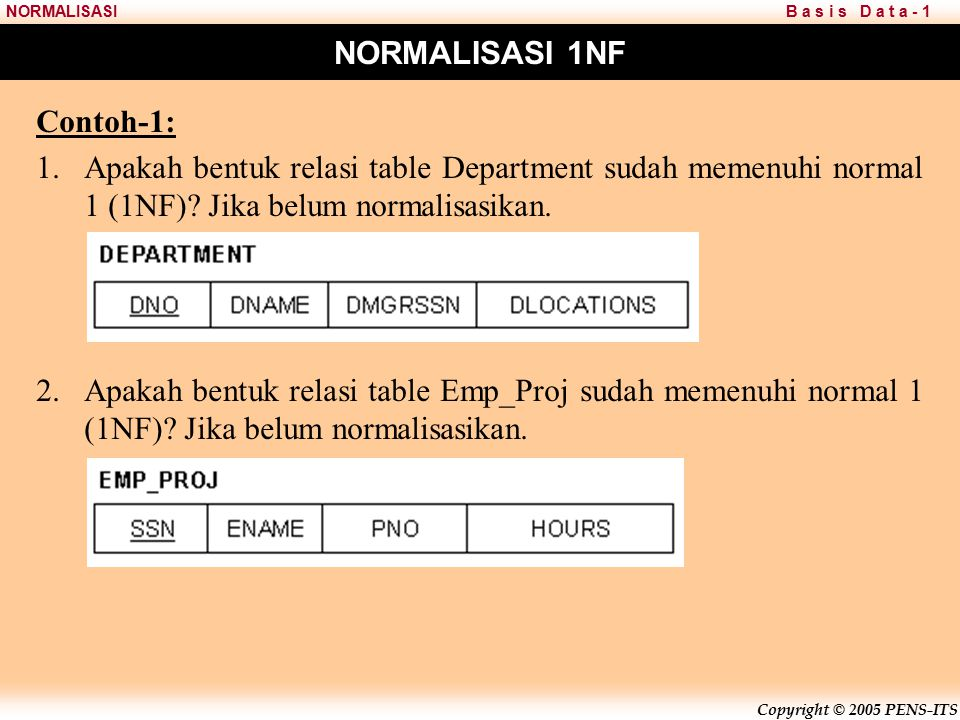 NORMALISASI 1NF Contoh-1: