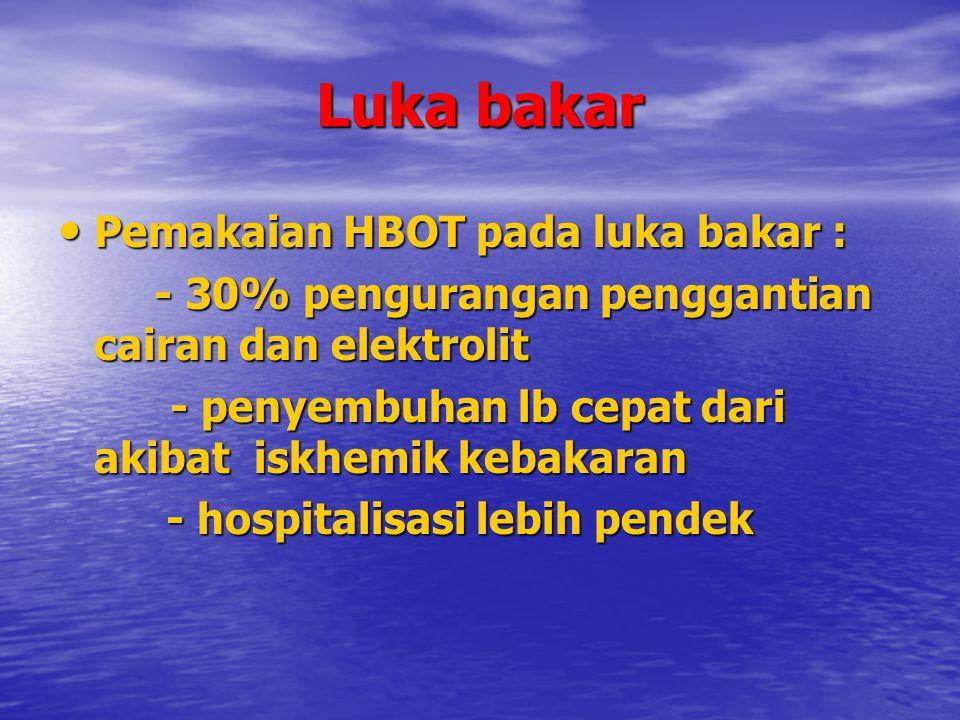 Luka bakar Pemakaian HBOT pada luka bakar :
