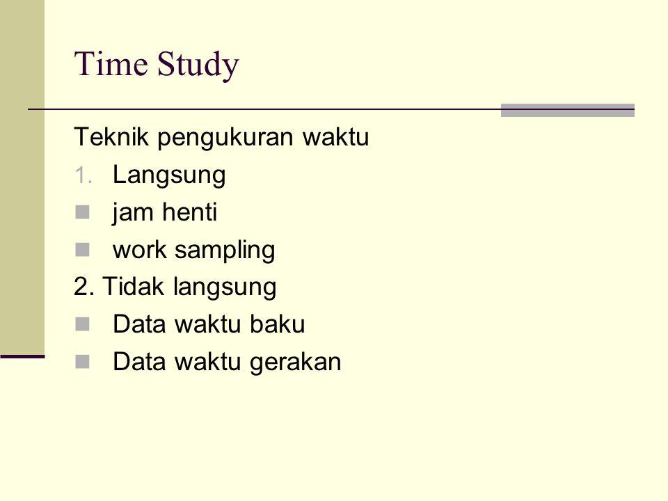 Time Study Teknik pengukuran waktu Langsung jam henti work sampling