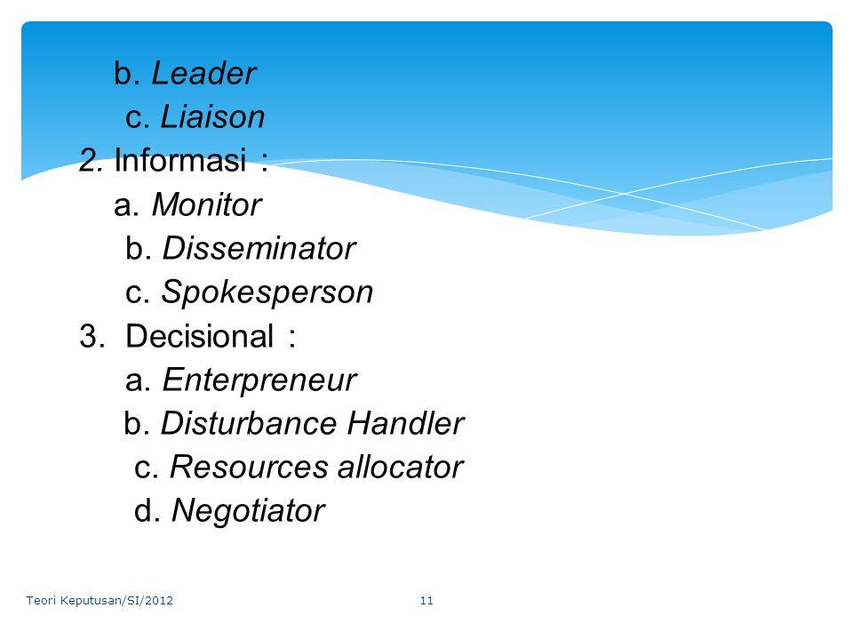 c. Liaison 2. Informasi : a. Monitor b. Disseminator c. Spokesperson
