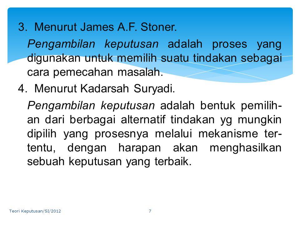 3. Menurut James A. F. Stoner